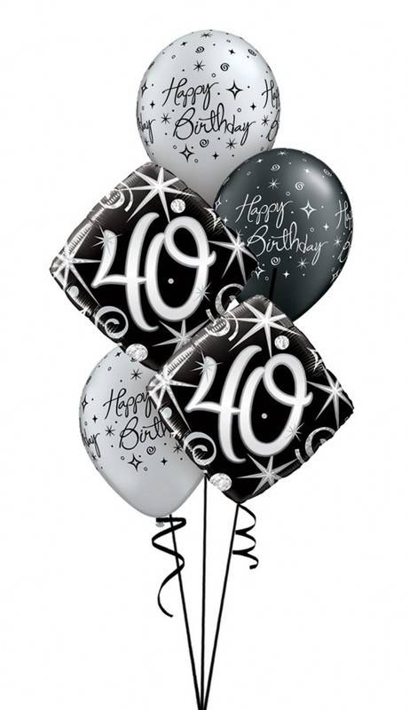 5 x 40th birthday foil latex balloon cluster