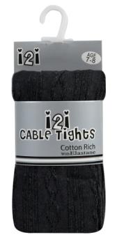 46B184, Girls cotton rich cable design black tights £1.40.  pk12...