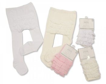 """*BW1055, """"Nursery Time"""" brand baby frilly cream tights (OUT OF STOCK) £1.95.  pk12.."""