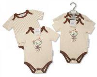 """*BIS1617, """"Nursery Time"""" brand baby 2 pack body vest-""""Daddy's Little Genius"""" £3.50.  12pks...."""