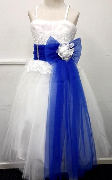 P013BLU, A beautiful sleeveless girls party dress £15.95.  pk6....