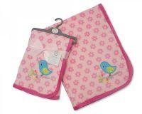 "BW912, ""Nursery Time"" brand baby girls coral fleece wrap- Bird £4.20.  pk2.."