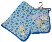 "BW911, ""Nursery Time"" brand baby boys coral fleece wrap- Space Ship £4.20.  pk2.."