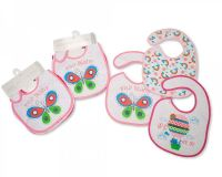 """BW724, """"Nursery Time"""" brand baby girls 3 in a pack bibs with PEVA back £2.10.  12pks..."""