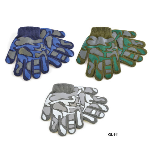 GL111, Kids magic gloves with camouflage design £0.46.  pk12..
