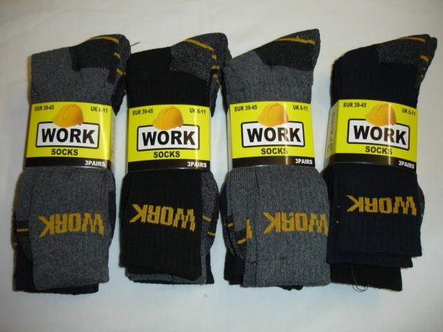 BB20, Mens 3 in a pack work socks £1.38.  1 dozen...