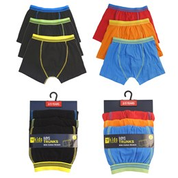 BR210, Boys 3 in a pack trunks £2.80.  12 pks....