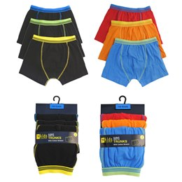 BR211, Boys 3 in a pack trunks £3.20.  12 pks....
