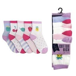 SK302, Girls 5 in a pack cotton rich design socks £1.50.  12pks...