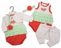 "BIS1696, ""Nursery Time"" brand Baby Girls 3 pcs Cotton Set - ""Melon"" £4.50.  PK6..."