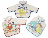 "BW802B, ""Nursery Time"" brand baby boys sleeved clear PEVA bibs £1.20.  pk12.."