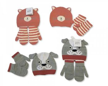 """GP0684, """"Nursery Time"""" Brand Baby Knitted Hat and Gloves Set £2.10.  pk6..."""