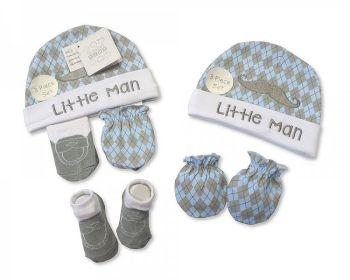 "GP0682, ""Nursery Time"" Brand Baby Boys Hat, Socks and Mitten Set- Little Man £3.30.  pk6...."