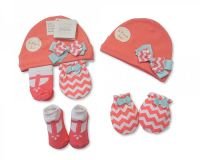 "GP0681, ""Nursery Time"" Brand Baby Girls Hat, Socks and Mitten Set- Bow £3.30.  pk6...."