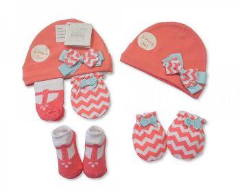 "GP0681, ""Nursery Time"" Brand Baby Girls Hat, Socks and Mitten Set- Bow £3.30.  pk6...."