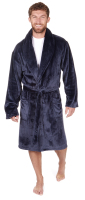 31B405, Mens larger size flannel fleece navy dressing gown with shawl collar £10.75.  pk12...