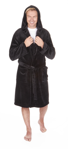 31B409, Mens black flannel fleece hooded dressing gown in larger size £10.95.  pk12...