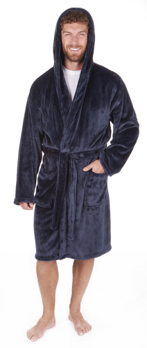 31B411, Mens navy flannel fleece hooded dressing gown in larger size £10.95.  pk12...