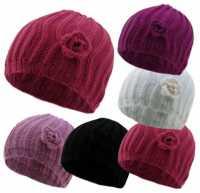 HAI728, Girls rib hat with crochet flower £1.00. pk12..