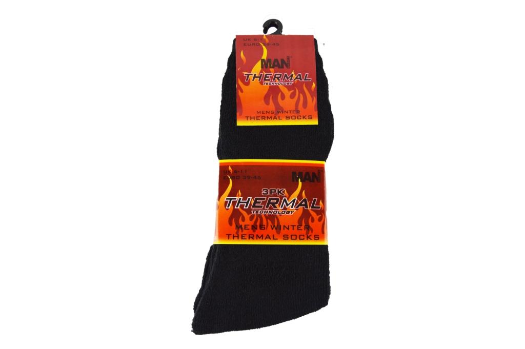 Code:5945, Mens 3 in a pack black thermal socks £1.00.  1 dozen...