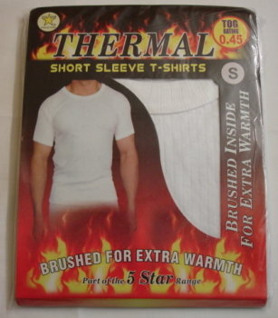 MUW236, *Mens white thermal t shirt £1.45.  pk6....
