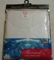RH122, Ladies short sleeve thermal vest £1.75. pk6....