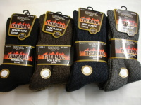 34SED072, Mens wool blend thermal non elastic socks.  1 dozen..