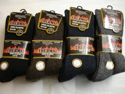 34SED072, Mens 3 in a pack wool blend thermal non elastic socks £2.25.  1 dozen..