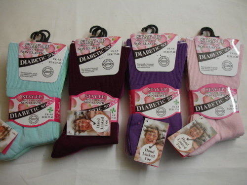 DIA1, Ladies 3 in a pack Diabetic Non Elastic Socks £1.63.  1 dozen..