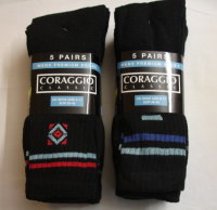 SP1, Mens black 5 in a pack cotton rich motif sport socks £1.75. (minimum purchase 20 pairs)..