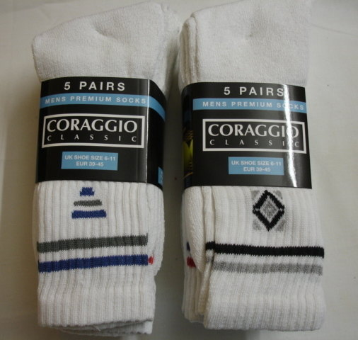 SPW1, Mens white 5 in a pack motif sport socks £1.50.  (minimum purchase 20 pairs)....