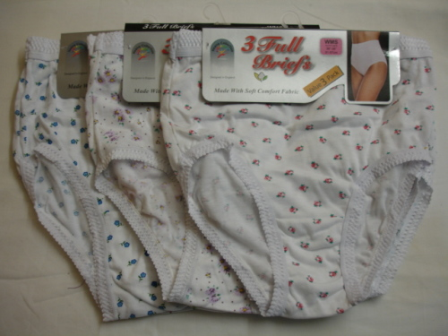 Style:R1WP, ladies 3 in a pack white printed full briefs £1.61.  1 dozen...