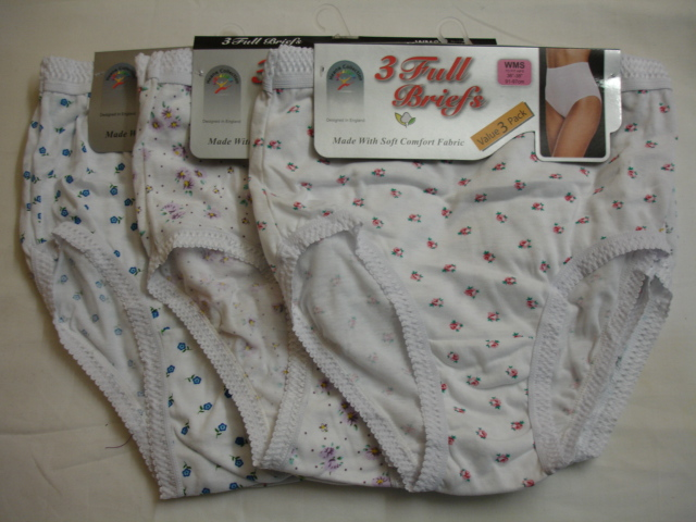 Style:R1WP, ladies 3 in a pack white printed full briefs £1.50.  1 dozen...