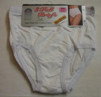 R1W, ladies full briefs - white.  1 dozen...