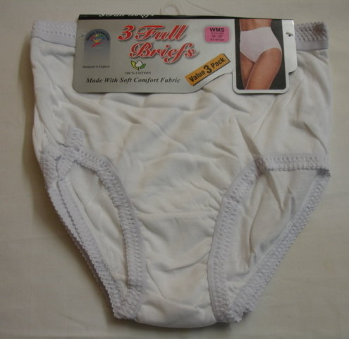 Style:R1W, ladies 3 in a pack white full briefs £1.61.  1 dozen...