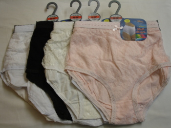 HLF40, Ladies lace front panel 3 in a pack mama briefs £1.63.  1 dozen..