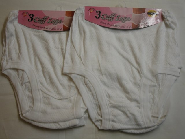 CL1, Ladies 3 in a pack eyelet cuff leg briefs £1.93. 1 dozen.......