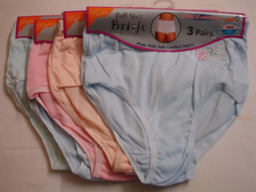 *AL4011, Ladies 3 in a pack full briefs with embroidery £1.63. 1 dozen...