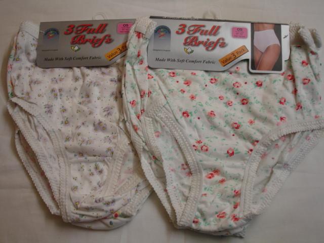 *R1CP, ladies 3 in a pack cream printed full briefs £1.50.  1 dozen...