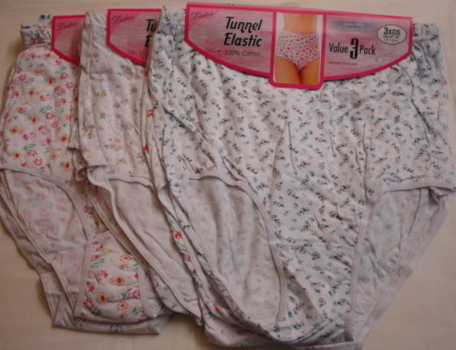 M2, Ladies 3 in a pack Tunnel Elastic Printed Full Briefs £2.24.  1 dozen.....