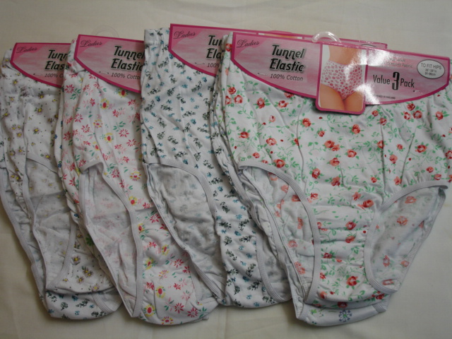 Style: M1 Ladies 3 in a pack tunnel elastic printed full briefs £1.75.  1 d