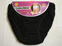 B1BK, Ladies cotton bikini briefs- black.  1 dozen...