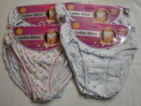 B1P, Ladies cotton printed bikini briefs. 1 dozen....