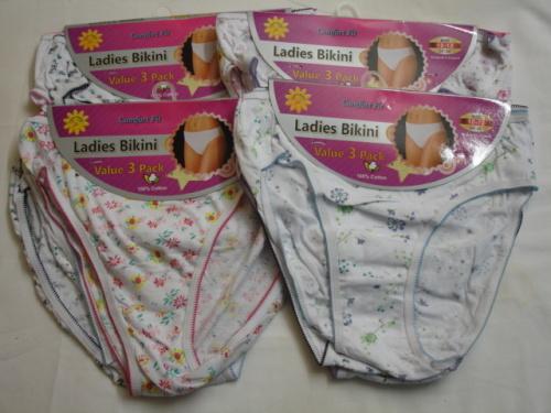 B1P, Ladies 3 in a pack cotton printed bikini briefs £1.19. 1 dozen....