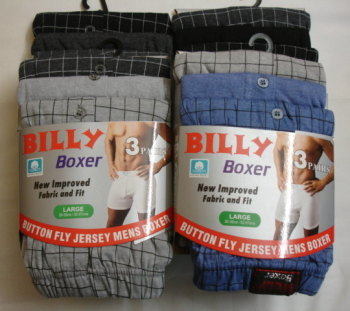 "*RH146, ""Billy Boxer"" brand mens 3 in a pack boxer shorts £2.00.  1 dozen..."