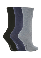 "SOLRG65, Ladies 3 in a pack ""Gentle Grip"" plain assorted colour socks £2.00. 1 dozen.."