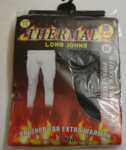 *Mens thermal black long john £1.45.  PK6...