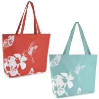 BB981, Ladies Hummingbird Print 600D Beach Bag £2.50.  pk6...