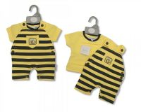 """BIS1452, """"Nursery Time"""" brand baby cotton 2 pcs dungaree set with """"Bees Knees"""" detail £4.50.  pk12..."""