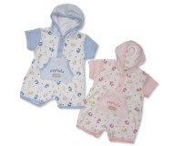 "BIS1582, ""Nursery Time"" brand baby all in one romper with hood & ""Elephant"" print £4.50.  pk6.."